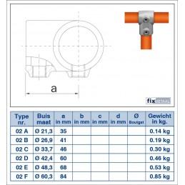 Werktekening Buiskoppeling Kort T-stuk Multiklemp