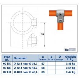 Werktekening buiskoppeling VERLOOP Kort T-stuk 42,4 - 33,7 Multiklemp