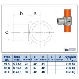 Buiskoppeling Kort T-stuk variabele hoek 0-11 graden