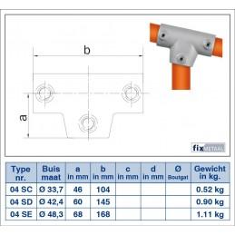 Werktekening buiskoppeling Lang T-stuk 0-11 graden Multiklemp