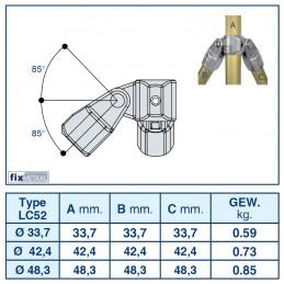 Werktekening aluminium buiskoppeling Dubbel Scharnierstuk 90 graden merk Kee Lite