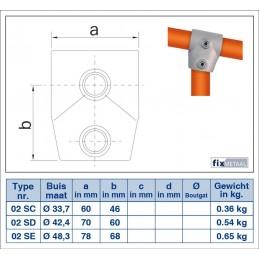 Werktekening buiskoppeling Kort T-stuk 0-11 graden Multiklemp