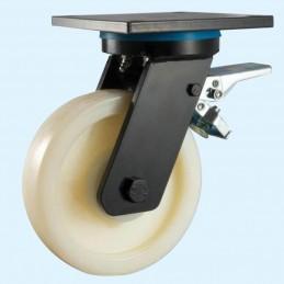Nylon zwaarlast zwenkwiel met rem en topplaat tot 1300 kg