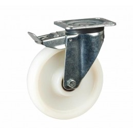 Nylon zwaarlast zwenkwiel met rem en topplaat tot 800 kg