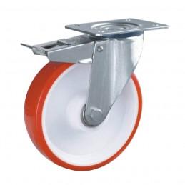 PU zwaarlast zwenkwiel met rem en topplaat tot 400 kg