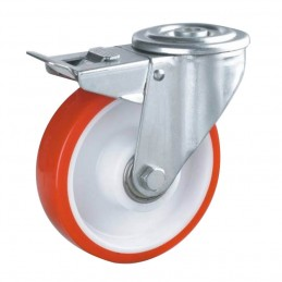 PU zwaarlast zwenkwiel met rem en centraal gat tot 400 kg